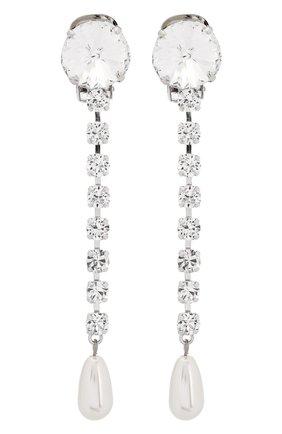 Женские серьги с отделкой из кристаллов MIU MIU серебряного цвета, арт. 5JO006-2ARA-F0QCD   Фото 1