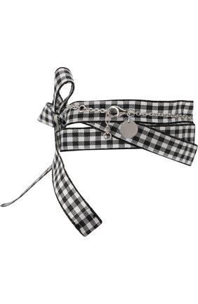 Текстильный браслет с декоративной отделкой Miu Miu кремовый | Фото №1