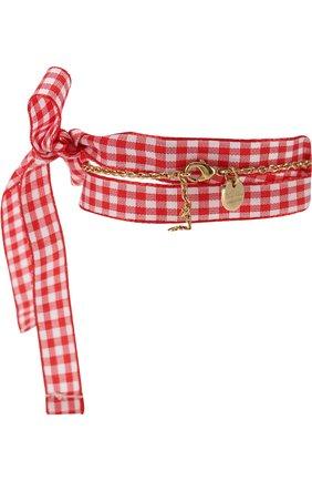 Текстильный браслет с декоративной отделкой Miu Miu красный | Фото №1