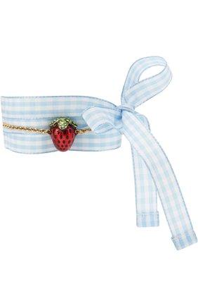 Текстильный браслет с декоративной отделкой Miu Miu разноцветный | Фото №1