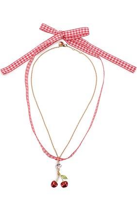 Текстильное колье с фигурной подвеской на цепочке Miu Miu красное | Фото №1
