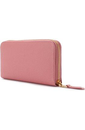 Женские кожаный кошелек на молнии с логотипом бренда MIU MIU розового цвета, арт. 5ML506-2BJI-F0387 | Фото 2