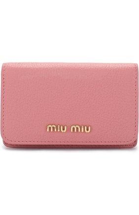Женский кожаный футляр для кредитных карт MIU MIU розового цвета, арт. 5MC011-2BJI-F0387 | Фото 1