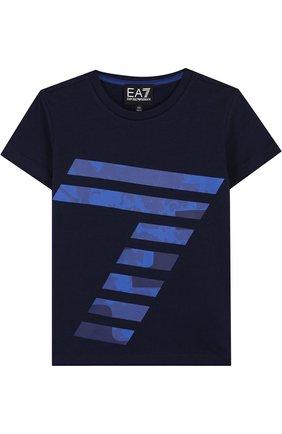 Детская хлопковая футболка с принтом EA 7 темно-синего цвета, арт. 3ZBT65/BJA2Z | Фото 1