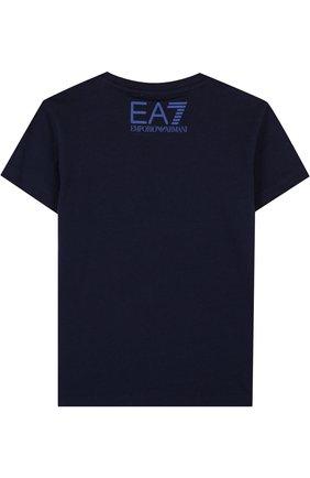 Детская хлопковая футболка с принтом EA 7 темно-синего цвета, арт. 3ZBT65/BJA2Z | Фото 2