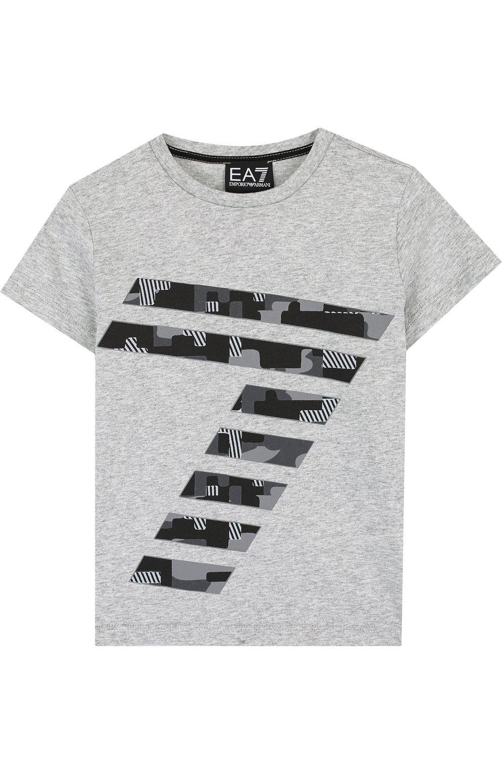 Детская хлопковая футболка с принтом EA 7 серого цвета, арт. 3ZBT65/BJA2Z | Фото 1