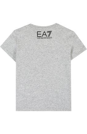 Детская хлопковая футболка с принтом EA 7 серого цвета, арт. 3ZBT65/BJA2Z | Фото 2
