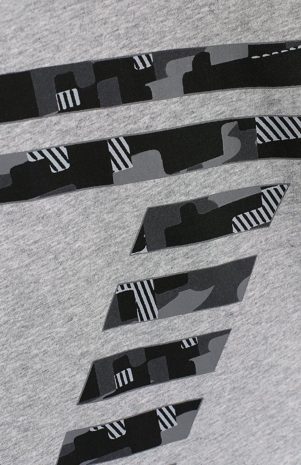 Детская хлопковая футболка с принтом EA 7 серого цвета, арт. 3ZBT65/BJA2Z | Фото 3
