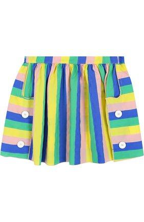 Детская мини-юбка свободного кроя с декором Leoca разноцветного цвета | Фото №1