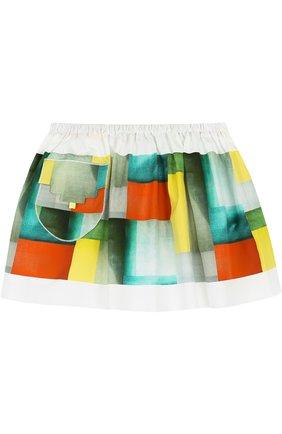 Хлопковая мини-юбка свободного кроя с накладным карманом | Фото №1