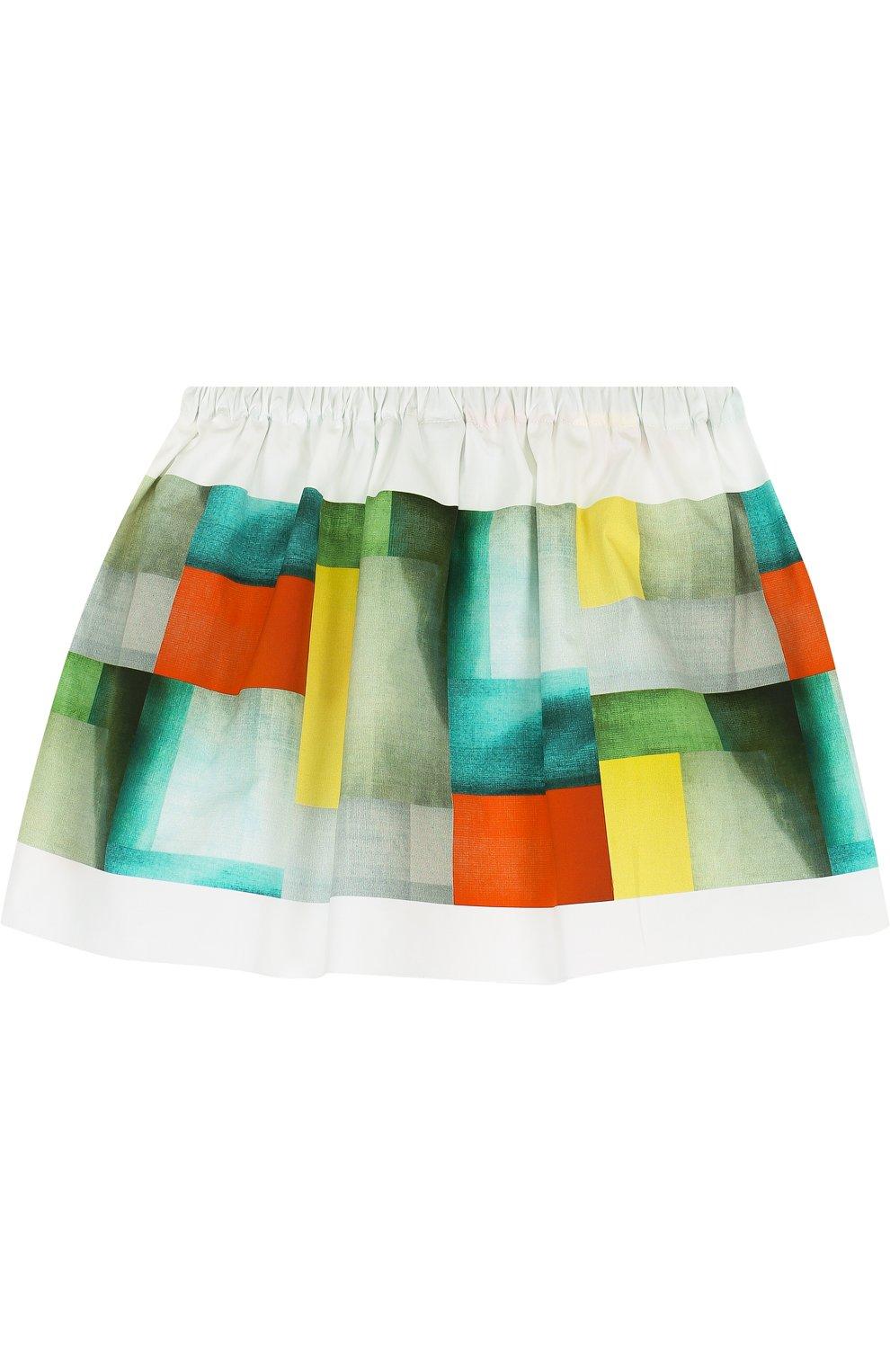 Хлопковая мини-юбка свободного кроя с накладным карманом   Фото №2