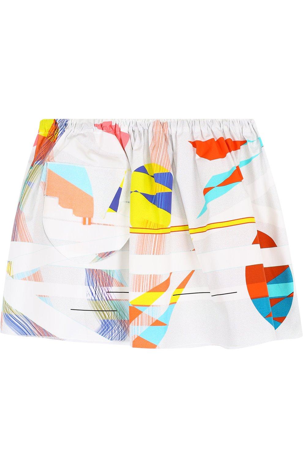 Хлопковая мини-юбка свободного кроя с накладным карманом   Фото №1