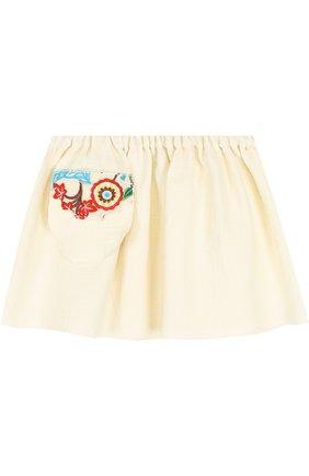 Хлопковая мини-юбка свободного кроя с накладным карманом и вышивкой | Фото №1