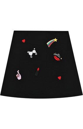 Хлопковая мини-юбка А-силуэта с вышивкой | Фото №1