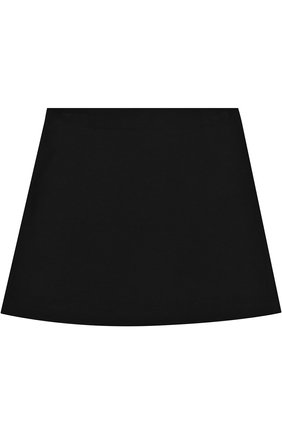 Детская хлопковая мини-юбка а-силуэта с вышивкой Vivetta черного цвета | Фото №1