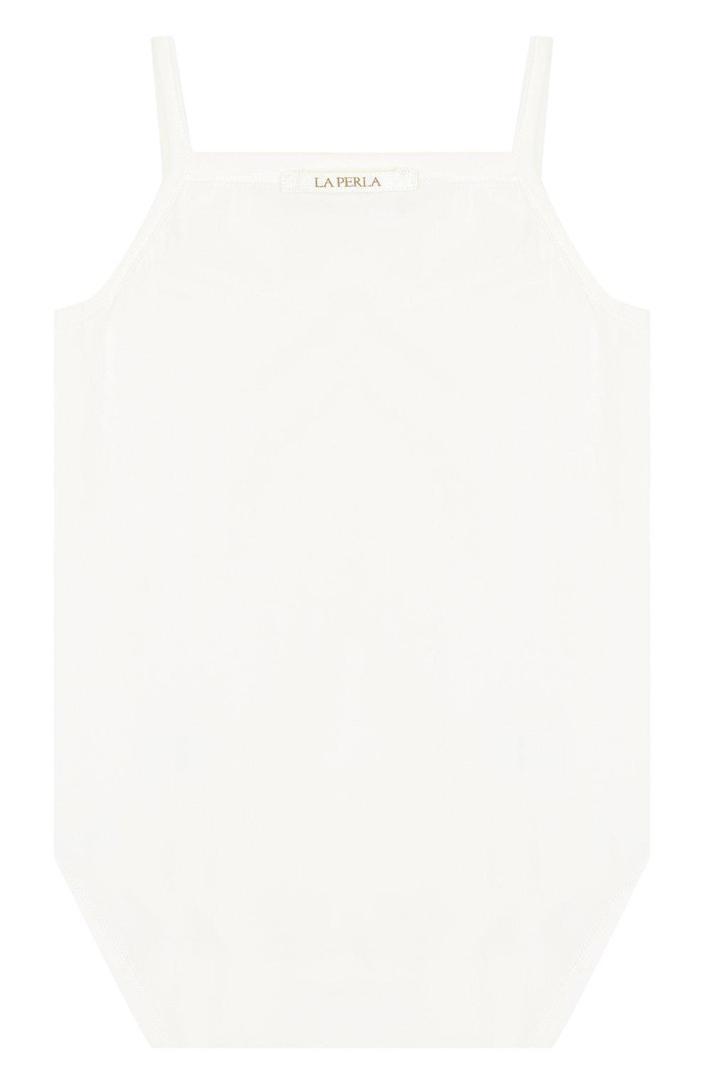 Детское хлопковое боди LA PERLA белого цвета, арт. 50611 | Фото 2 (Рукава: Короткие; Материал внешний: Хлопок)