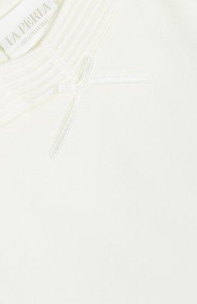Детское хлопковое боди LA PERLA белого цвета, арт. 50611 | Фото 3 (Рукава: Короткие; Материал внешний: Хлопок)