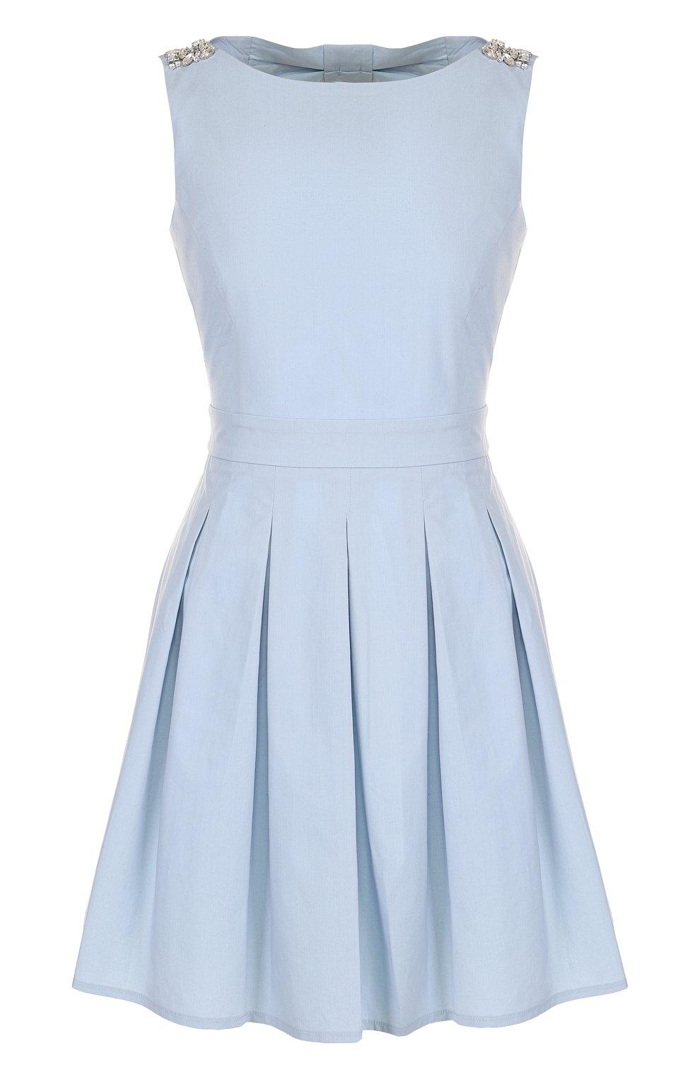 26cc39e61ea Женское голубое однотонное приталенное мини-платье с юбкой в складку ...