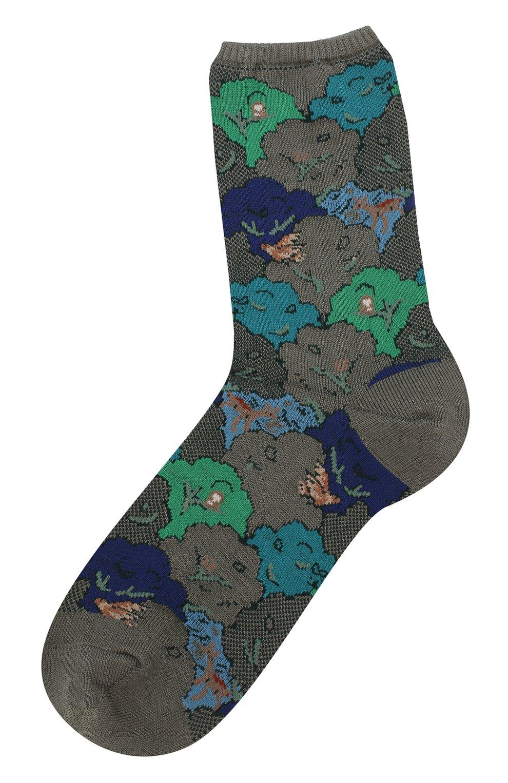 Женские хлопковые носки с цветочным рисунком ANTIPAST хаки цвета, арт. AS-178 | Фото 1