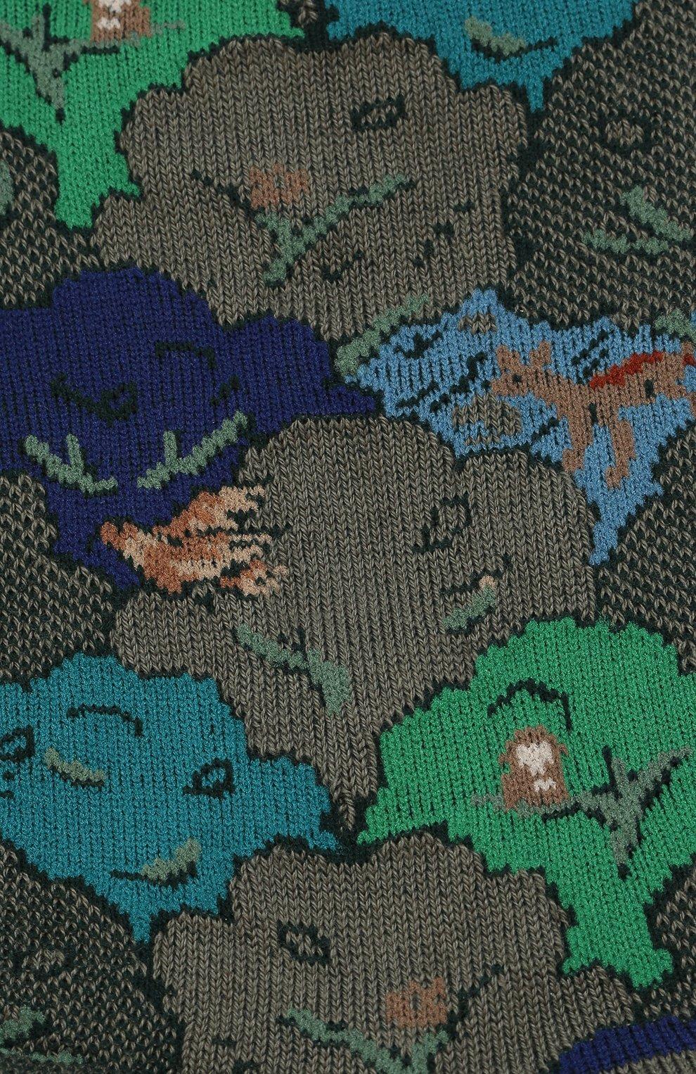 Женские хлопковые носки с цветочным рисунком ANTIPAST хаки цвета, арт. AS-178 | Фото 2