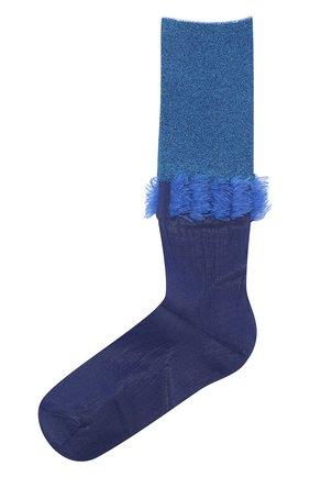Женские высокие вязаные носки с контрастной бахромой ANTIPAST синего цвета, арт. AS-177 | Фото 1