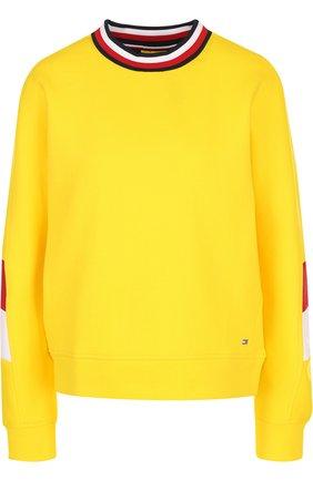 Хлопковый пуловер прямого кроя с круглым вырезом Tommy Hilfiger желтый | Фото №1