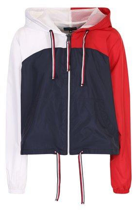 Укороченная куртка свободного кроя с капюшоном Tommy Hilfiger разноцветная | Фото №1