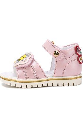 Кожаные сандалии с застежками велькро и аппликациями   Фото №2