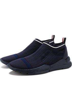Мужские текстильные кроссовки без шнуровки  MONCLER темно-синего цвета, арт. D1-09A-10286-00-019MP | Фото 1