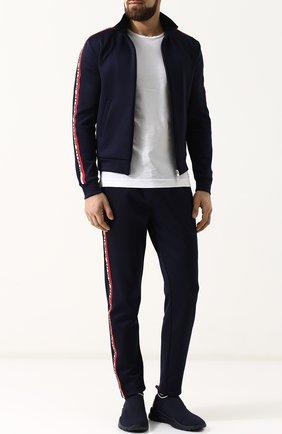 Мужские текстильные кроссовки без шнуровки  MONCLER темно-синего цвета, арт. D1-09A-10286-00-019MP | Фото 2