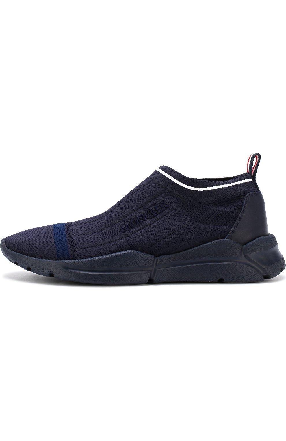Мужские текстильные кроссовки без шнуровки  MONCLER темно-синего цвета, арт. D1-09A-10286-00-019MP | Фото 3