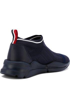 Мужские текстильные кроссовки без шнуровки  MONCLER темно-синего цвета, арт. D1-09A-10286-00-019MP | Фото 4