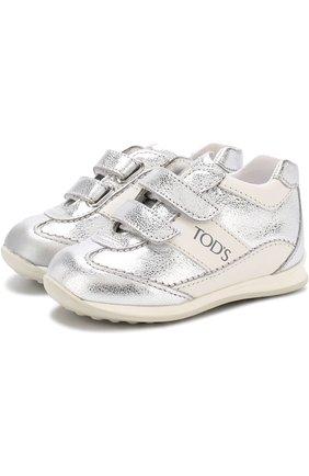 Кроссовки из металлизированной кожи с застежками велькро | Фото №1