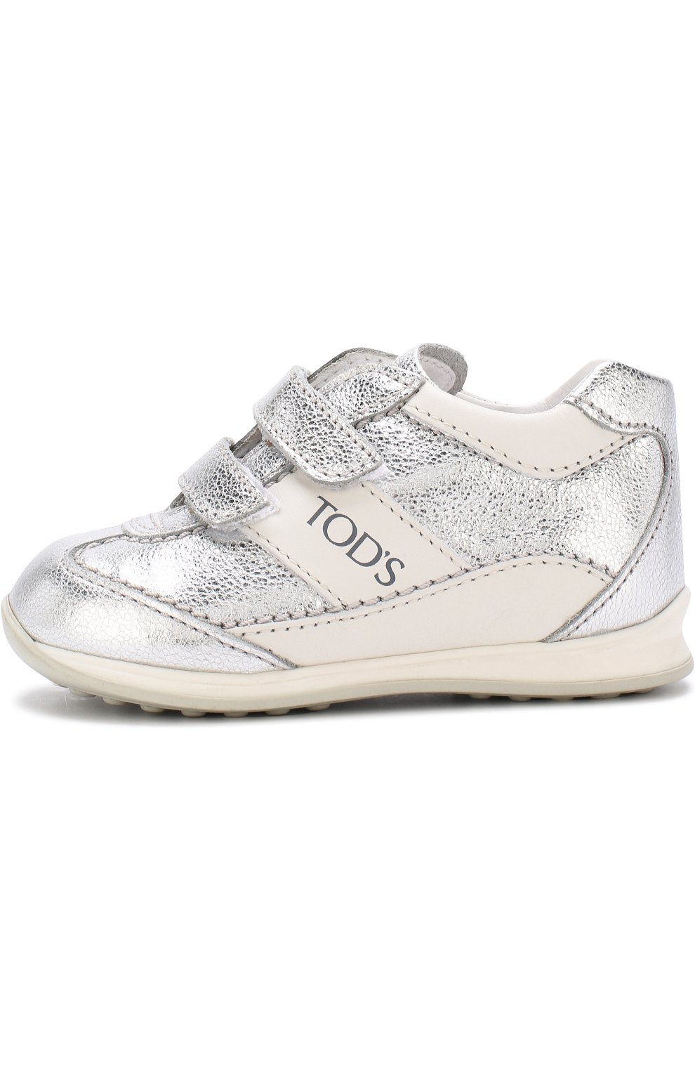 Кроссовки из металлизированной кожи с застежками велькро | Фото №2