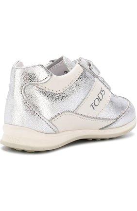 Кроссовки из металлизированной кожи с застежками велькро | Фото №3