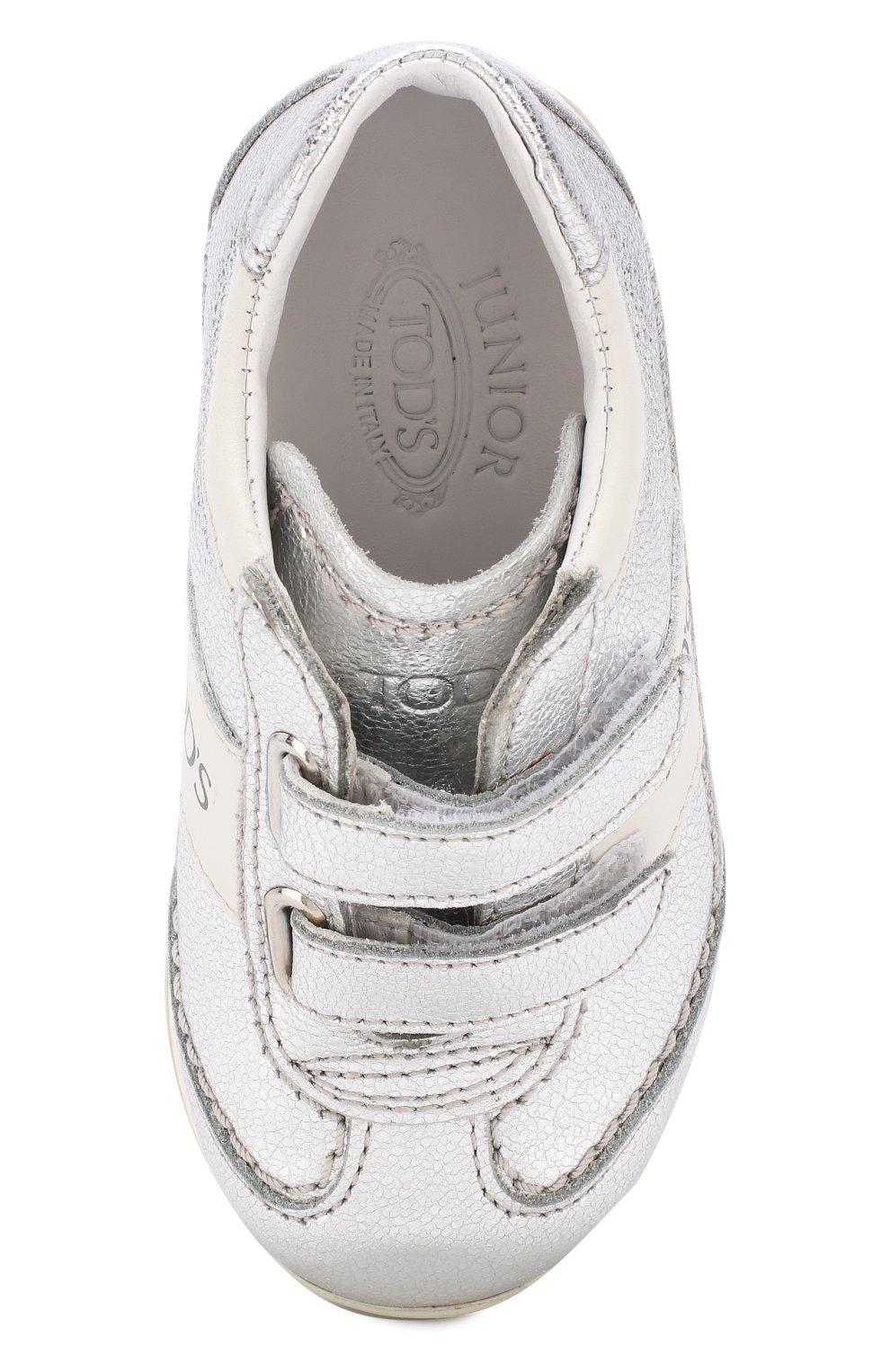 Кроссовки из металлизированной кожи с застежками велькро | Фото №4
