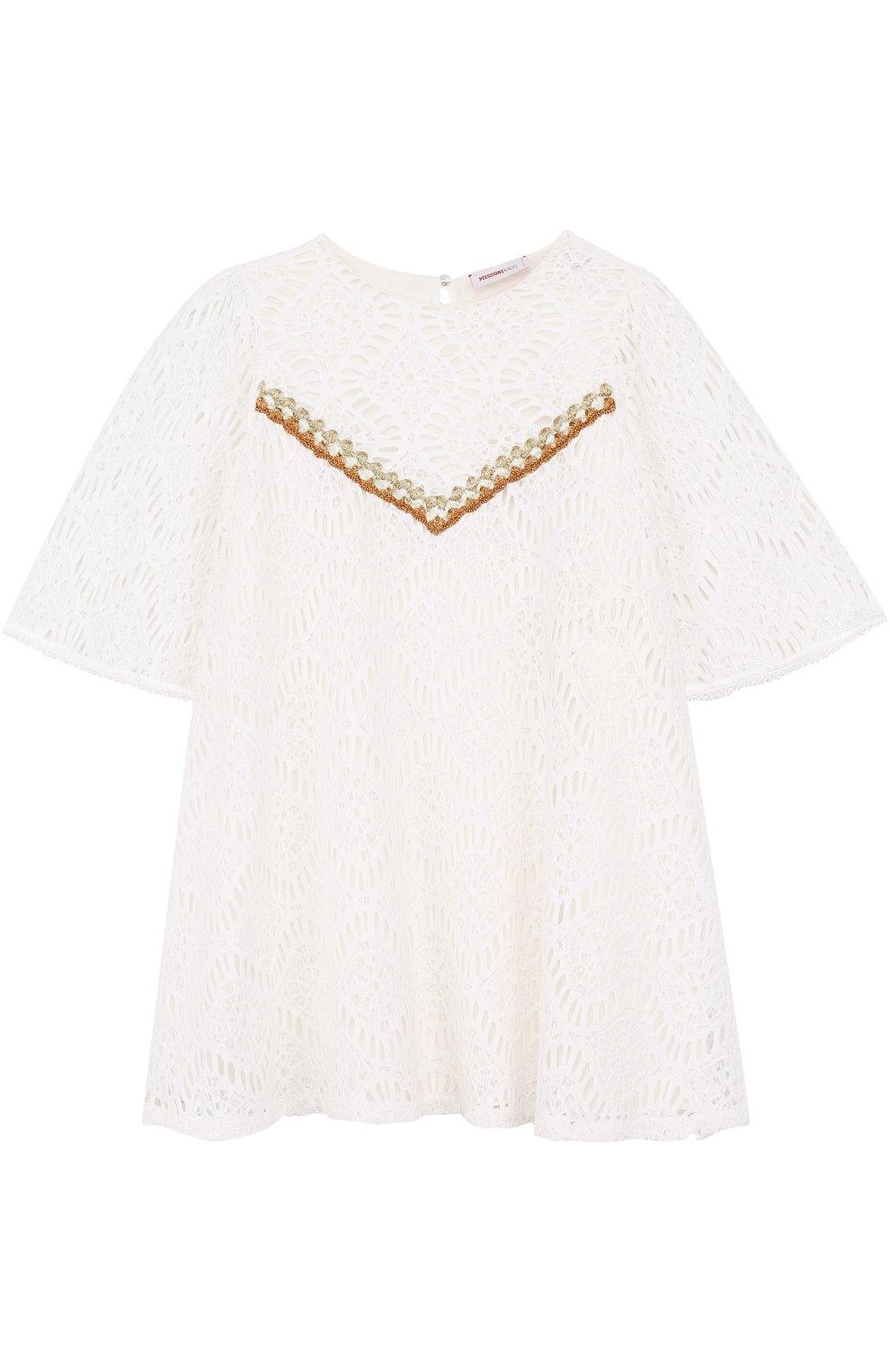Кружевное мини-платье свободного кроя с металлизированной вышивкой | Фото №1