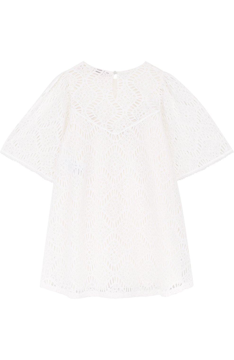 Кружевное мини-платье свободного кроя с металлизированной вышивкой | Фото №2