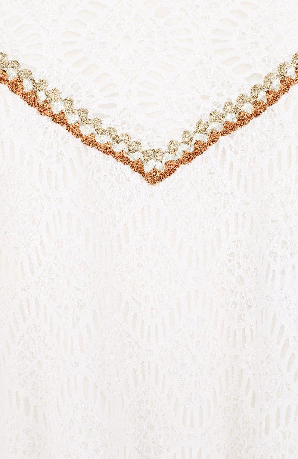 Кружевное мини-платье свободного кроя с металлизированной вышивкой | Фото №3