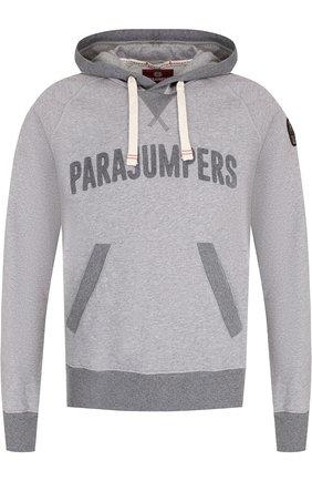 Хлопковое худи с логотипом бренда Parajumpers серый   Фото №1