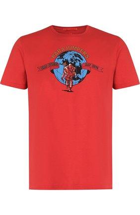 Хлопковая футболка с принтом Parajumpers красная   Фото №1
