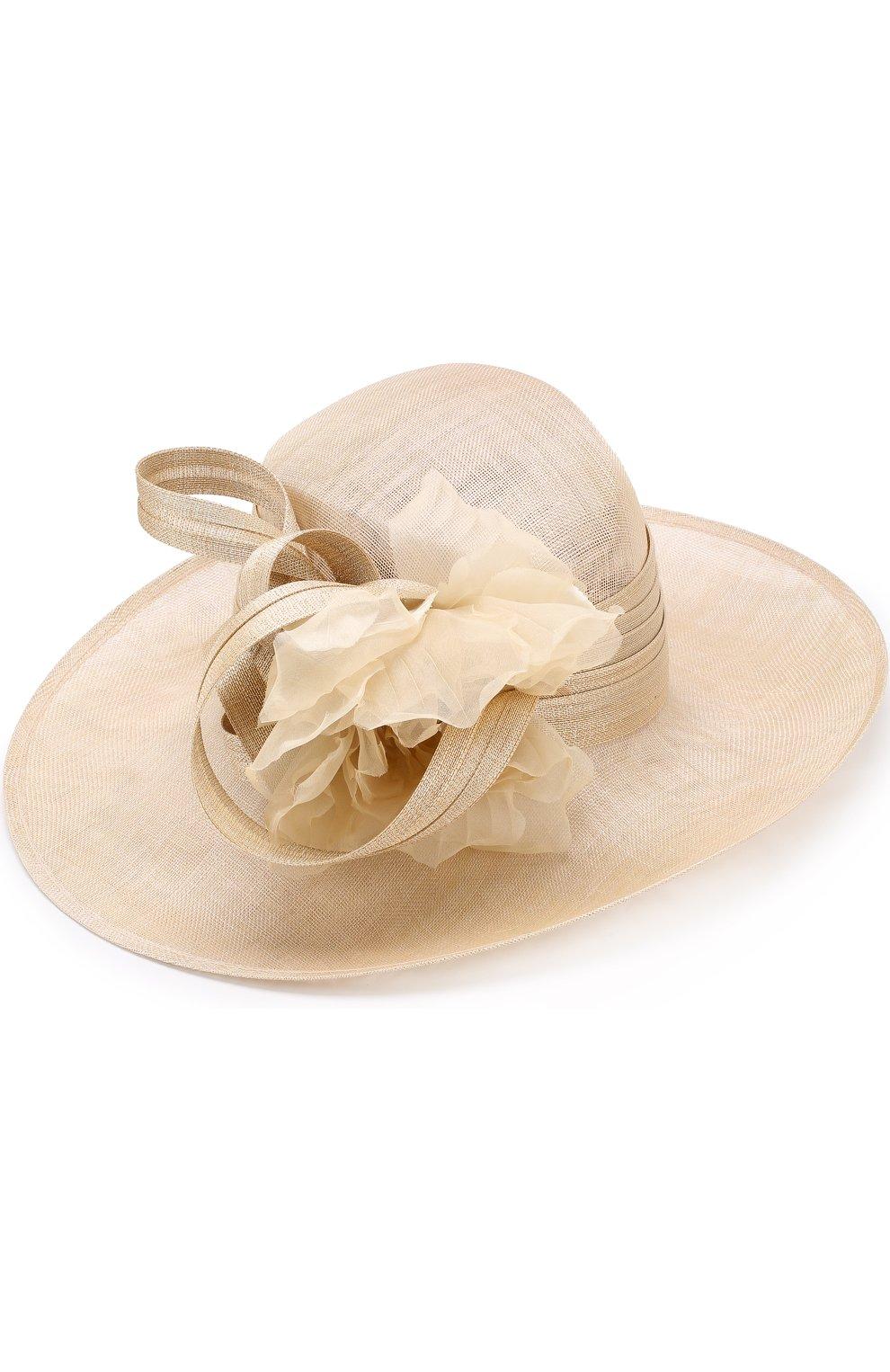 Женская соломенная шляпа с декором в виде цветка PHILIP TREACY бежевого цвета, арт. 0C460 | Фото 1