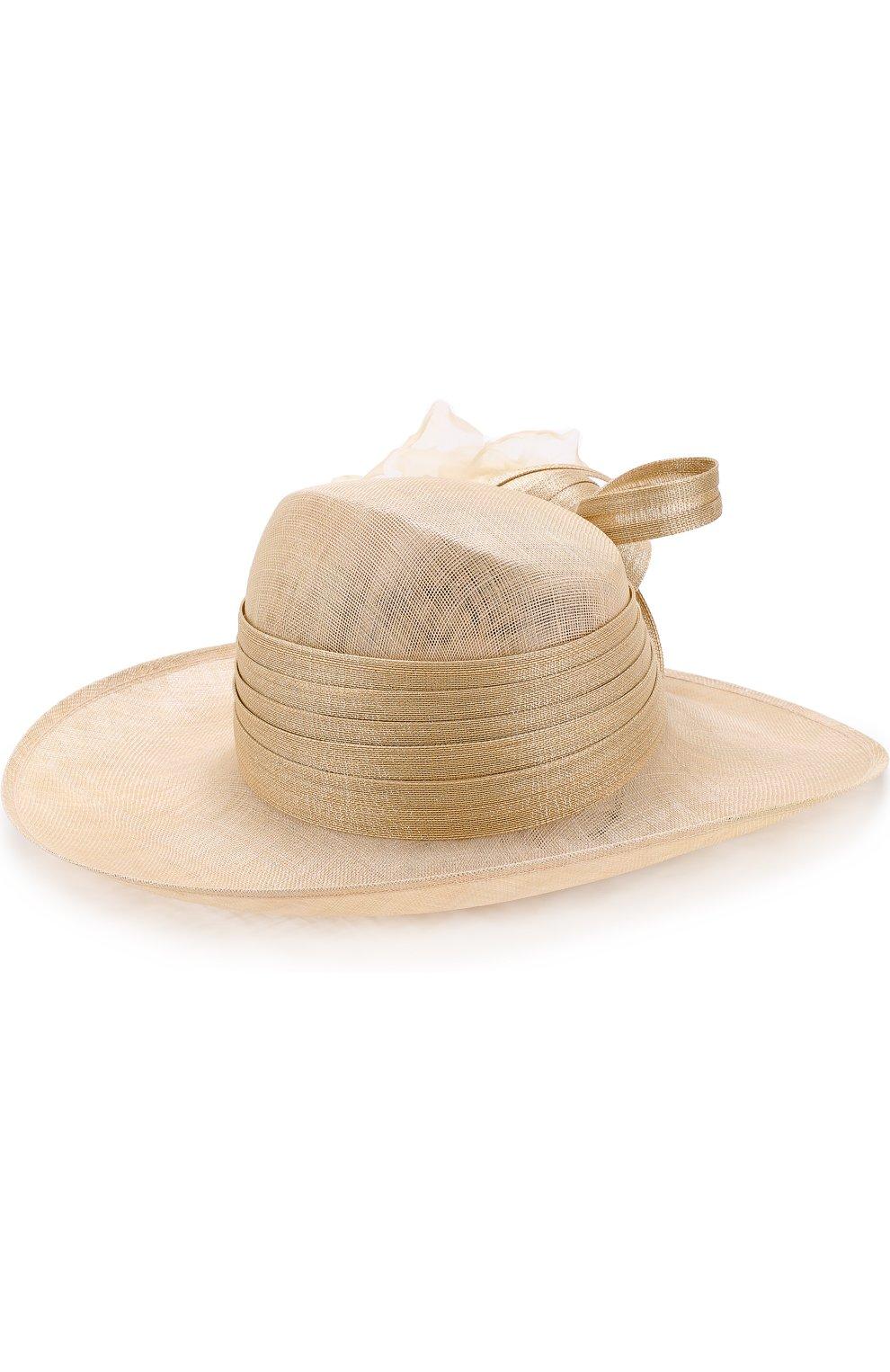 Женская соломенная шляпа с декором в виде цветка PHILIP TREACY бежевого цвета, арт. 0C460 | Фото 2