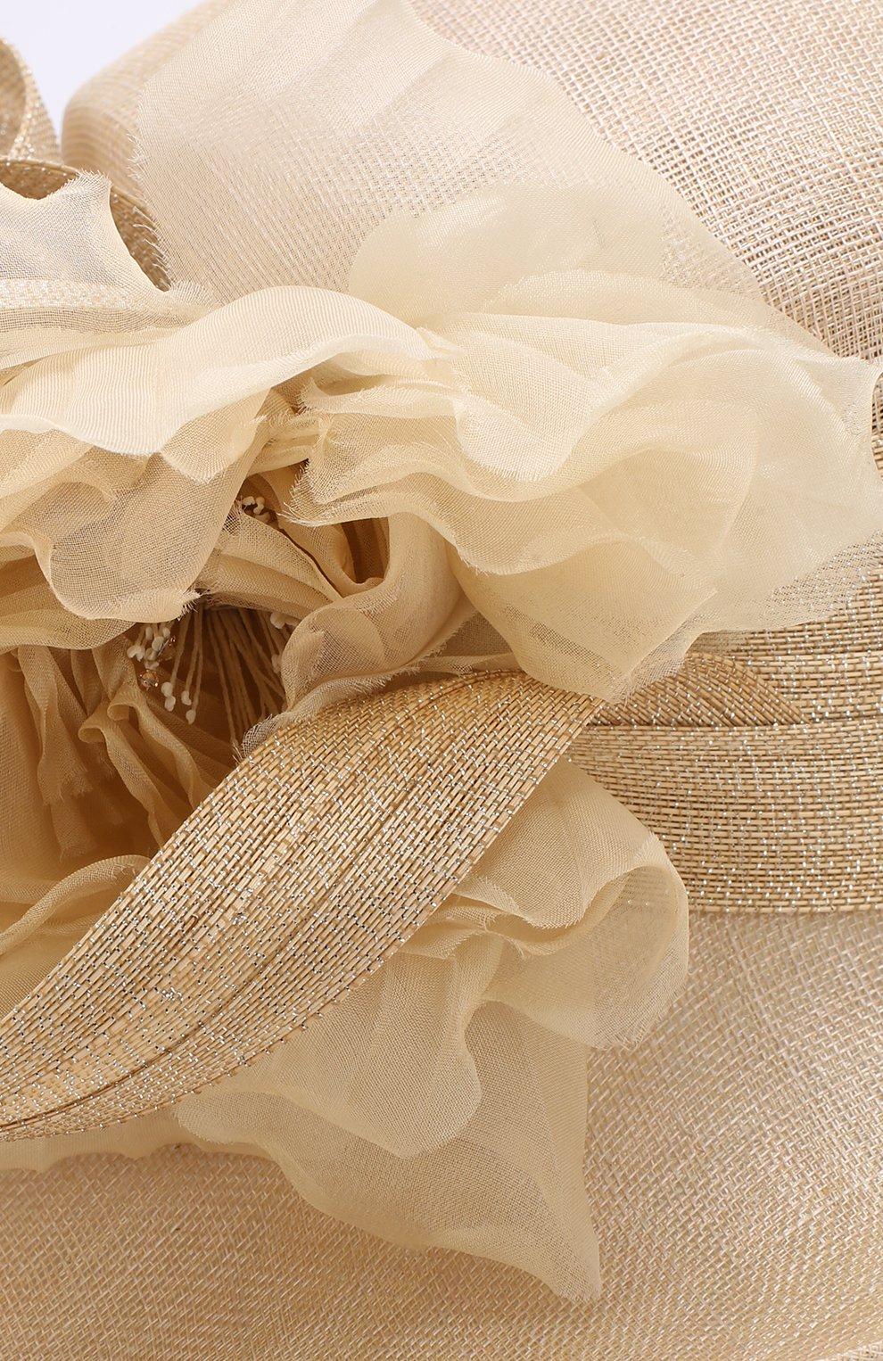 Женская соломенная шляпа с декором в виде цветка PHILIP TREACY бежевого цвета, арт. 0C460 | Фото 3