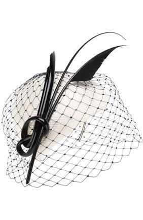 Соломенная шляпа с декоративной сеточкой | Фото №1