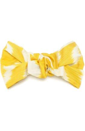 Шелковая повязка с принтом Jennifer Behr желтого цвета   Фото №1
