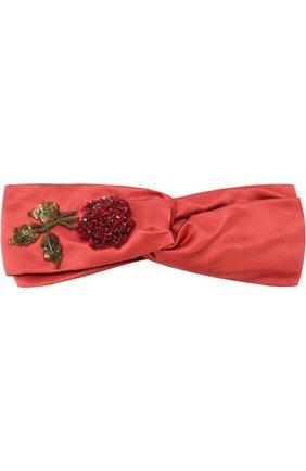 Шелковая повязка с вышивкой из пайеток и бисера Jennifer Behr кораллового цвета   Фото №1