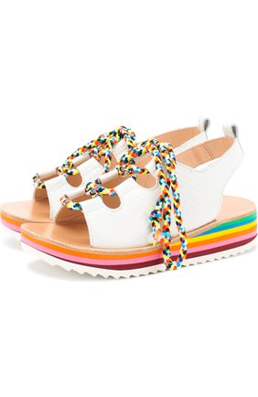 Кожаные босоножки на контрастной шнуровке | Фото №1