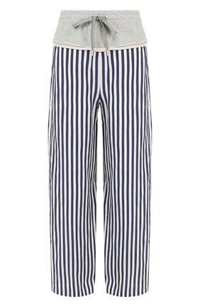 Широкие хлопковые брюки в полоску T by Alexander Wang синие | Фото №1