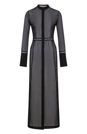 Полупрозрачное платье-рубашка из смеси хлопка и шелка   Фото №1